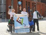 10 September 2009; Athlete Caitriona McKiernan and Gary Cooke, Apres Match, with eircom League of Ireland players, Emeka Onwubiko, Bray Wanderers, left, Oscar Sibanda, Drogheda United, centre, and Victor Ekanem, Shamrock Rovers, right, at the launch of the SARI Soccerfest meets Concern KiteFest Festival. Smithfield Square, Smithfield, Dublin. Picture Credit: Pat Murphy / SPORTSFILE