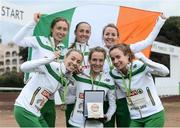 13 December 2015; The bronze medal winning Ireland Senior Women's team, top row from left, Caroline Crowley, Kerry O'Flaherty, Ciara Durkan; bottom row from left, Lizzie Lee, Fionnuala McCormack and Michelle Finn. SPAR European Cross Country Championships Hyeres 2015. Paray Le Monial, France. Picture credit: Cody Glenn / SPORTSFILE