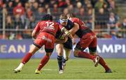 13 December 2015; Sean Cronin, Leinster, is tackled by Ma'a Nonu, left, and Duane Vermeulen, Toulon. European Rugby Champions Cup,  Pool 5, Round 3, RC Toulon v Leinster. Stade Felix Mayol, Toulon, France. Picture credit: Stephen McCarthy / SPORTSFILE
