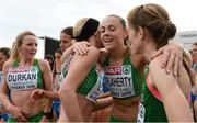 13 December 2015; Ireland's Kerry O'Flaherty, centre right, hugs team-mates Lizzie Lee, centre, and Fionnuala McCormack, right, alongside team-mate Ciara Durkan, left, after the team secured a bronze in the Senior Women's event. SPAR European Cross Country Championships Hyeres 2015. Paray Le Monial, France. Picture credit: Cody Glenn / SPORTSFILE