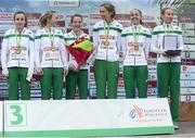 13 December 2015; The bronze medal Ireland Senior Women's team on the podium. Pictured left to right are Michele Finn, Ciara Durkan, Fionnuala McCormack, Caroline Crowley, Kerry O'Flaherty and Lizzie Lee. SPAR European Cross Country Championships Hyeres 2015. Paray Le Monial, France. Picture credit: Cody Glenn / SPORTSFILE