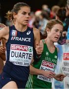 13 December 2015; Ireland's Fionnuala McCormack races alongside France's Sophie Duarte on her way to a 4th place finish in the Senior Women's event. SPAR European Cross Country Championships Hyeres 2015. Paray Le Monial, France. Picture credit: Cody Glenn / SPORTSFILE