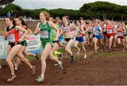 13 December 2015; Ireland's Emma O'Brien on her way to a 55th place finish in the Junior Women's event. SPAR European Cross Country Championships Hyeres 2015. Paray Le Monial, France. Picture credit: Cody Glenn / SPORTSFILE