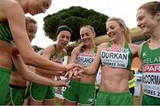 13 December 2015; The Ireland Senior Women's team, from left, Caroline Crowley, Michele Finn, Lizzie Lee, Kerry O'Flaherty, Ciara Durkan and Fionnuala McCormack celebrate their third place team finish. SPAR European Cross Country Championships Hyeres 2015. Paray Le Monial, France. Picture credit: Cody Glenn / SPORTSFILE