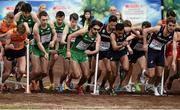 13 December 2015; The Ireland Senior Men's team, centre, lead by Mick Clohisey, centre right, and including, from centre left, Joseph Sweeney, John Coghlan, Sergiu Ciobanu, and Paul Pollock, at the start. SPAR European Cross Country Championships Hyeres 2015. Paray Le Monial, France Picture credit: Cody Glenn / SPORTSFILE