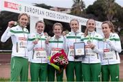 13 December 2015; The bronze medal winning Ireland Senior Women's team, from left, Caroline Crowley, Ciara Durkan, Fionnuala McCormack, Lizzie Lee, Kerry O'Flaherty and Michele Finn. SPAR European Cross Country Championships Hyeres 2015. Paray Le Monial, France Picture credit: Cody Glenn / SPORTSFILE