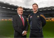 15 December 2015; Pat Fitzgerald, Bord na Móna, with Offaly footballer Alan Mulhall, at the launch of the Bord na Móna Leinster GAA Series. Croke Park, Dublin. Picture credit: Paul Mohan / SPORTSFILE