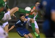15 December 2015; Yoyo Mahdy, Limerick FC, in action against Conor McCarthy, Cork City. SSE Airtricity National U19 League Final, Limerick FC v Cork City. Marketsfield, Limerick. Picture credit: Diarmuid Greene / SPORTSFILE