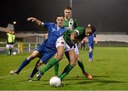 15 December 2015; Chiedozie Ogbene, and Aaron, Drinan, Cork City, in action against Ross Mann, Limerick FC. SSE Airtricity National U19 League Final, Limerick FC v Cork City. Marketsfield, Limerick. Picture credit: Diarmuid Greene / SPORTSFILE