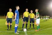 15 December 2015; Referee Robert Hennessy, alongside assistant referees Pat Gleeson and Dean Reidy, performs the coin-toss with Limerick FC captain Ross Mann and Cork City captain Craig Donnellan before the game. SSE Airtricity National U19 League Final, Limerick FC v Cork City. Marketsfield, Limerick. Picture credit: Diarmuid Greene / SPORTSFILE