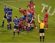 19 December 2015; Duane Vermeulen, 8, Toulon, is shown a yellow card and sin binned by referee Wayne Barnes. European Rugby Champions Cup, Pool 5, Round 4, Leinster v RC Toulon. Aviva Stadium, Lansdowne Road, Dublin. Picture credit: Paul Mohan / SPORTSFILE