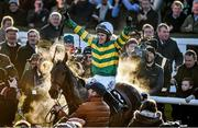 8 February 2015; Jockey Tony McCoy celebrates on Carlingford Lough, after winning the Hennessy Gold Cup. Leopardstown, Co. Dublin. Picture credit: Barry Cregg / SPORTSFILE