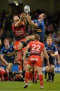 19 December 2015; Dave Kearney, Leinster, contests a high ball against Duane Vermeulen, Toulon. European Rugby Champions Cup, Pool 5, Round 4, Leinster v RC Toulon. Aviva Stadium, Lansdowne Road, Dublin. Picture credit: Matt Browne / SPORTSFILE