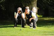 17 September 2009; Gerry Fahy, left, and John Greally, Loughrea Golf Club, Co. Galway, line up a putt on to the 4th green during the Bulmers Pierce Purcell Shield Semi-Final. Bulmers Cups and Shields Finals 2009, Tullamore Golf Club, Brookfield, Tullamore, Co. Offaly. Picture credit: Ray McManus / SPORTSFILE
