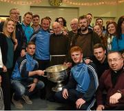 21 December 2015; Dublin manager Jim Gavin with Br. Kevin Crowley, Fr Robert McCabe, CC, Navan, and Fr Bryan Shorthall , Paul Flynn, Jim Brogan, Paddy Andrews, Davy Byrne, Conor McHugh and Gavin Burke, as they and volunteers help pack some 3,000 Christmas parcels for the homeless at the Capuchin Day Centre on Bow Street, Dublin. Picture credit: Ray McManus / SPORTSFILE