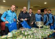 21 December 2015; Dublin footballers Paul Flynn, Jim Brogan, selector, Paddy Andrews, Davy Byrne, goalkeeping coach, Conor McHugh, and Gavin Burke as they help pack some 3,000 Christmas parcels for the homeless at the Capuchin Day Centre on Bow Street, Dublin. Picture credit: Ray McManus / SPORTSFILE