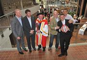 22 September 2009; Ireland rugby head coach Declan Kidney with his honorary doctorate of science which he received from the University of Limerick, along with Munster rugby players past and present, from left, Paul O'Connell, Anthony Foley, Keith Wood, Killian Keane and Alan Quinlan. University Concert Hall, University of Limerick, Limerick. Picture credit: Diarmuid Greene / SPORTSFILE