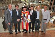 22 September 2009; Ireland rugby head coach Declan Kidney with his honorary doctorate of science which he received from the University of Limerick, along with Munster rugby players past and present, from left, Paul O'Connell, Anthony Foley, Killian Keane, Keith Wood and Alan Quinlan. University Concert Hall, University of Limerick, Limerick. Picture credit: Diarmuid Greene / SPORTSFILE