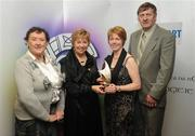 14 March 2009; Eilis Kavanagh, second from right, is presented with the award for Best Match Programme by  Liz Howard, Uachtarán Chumann Camógaíochta na nGael, with Ann O'Brien, Leinster Code of Ethics, and Ray Quigley, Leinster Chairman, during the Cumann Camógaíochta na nGael Media Awards 2009. Croke Park, Dublin. Picture credit: Ray Lohan / SPORTSFILE