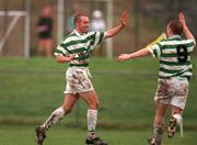 11  February 2001; Tony Grant, left, Shamrock Rovers, celebrates after scoring his sides third's goal with teamate Sean Francis. eircom league premier Division. Kilkenny City v Shamrock Rovers. Scanlan Park, Kilkenny. Soccer. Picture credit; David Maher/SPORTSFILE