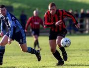 18 February 2001; Glen Crowe, Bohemians, in action against Robert McAuley, UCD. UCD v Bohemians, eircom League Premier Division, Belfield Park, Dublin. Soccer. Picture credit; David Maher/SPORTSFILE