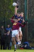 3 January 2016; Anthony McLoughlin, Wicklow, in action against Ronan Foley, left, and Alan Stone, Westmeath. Bord na Mona O'Byrne Cup, Group D, Wicklow v Westmeath. Bray Emmetts, Bray, Co. Wicklow Picture credit: Ramsey Cardy / SPORTSFILE
