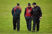 3 January 2016; New Cork manager Peadar Healy, centre, with selectors Eamonn Ryan, left, and Morgan O'SullEvan. McGrath Cup Football, Group B, Round 1, Cork v Limerick. Mallow GAA Grounds, Mallow, Co. Cork. Picture credit: Brendan Moran / SPORTSFILE