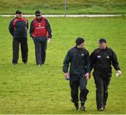 3 January 2016; New Cork manager Peadar Healy, 2nd from left, with his selector Eamonn Ryan, left, and as selectors Paudie Kissane and Morgan O'SullEvan. McGrath Cup Football, Group B, Round 1, Cork v Limerick. Mallow GAA Grounds, Mallow, Co. Cork. Picture credit: Brendan Moran / SPORTSFILE
