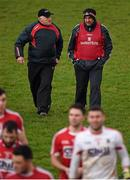 3 January 2016; New Cork manager Peadar Healy, right, and selector Eamonn Ryan leave the pitch after the game. McGrath Cup Football, Group B, Round 1, Cork v Limerick. Mallow GAA Grounds, Mallow, Co. Cork. Picture credit: Brendan Moran / SPORTSFILE