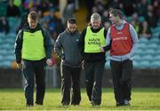 3 January 2016; Rory Gallagher, Donegal manager, right, in conversation with selectors from left, Jack Cooney, Maxi Curran and Brendan Kilcoyne, as they come off the pitch at half time. Bank of Ireland Dr. McKenna Cup, Group B, Round 1, Donegal v Down. MacCumhaill Park, Ballybofey, Co. Donegal. Picture credit: Oliver McVeigh / SPORTSFILE