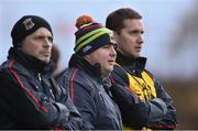 3 January 2016; Stephen Rochford, centre, Mayo manager with selectors, Sean Carey, left and Tony McEntee. FBD Connacht League, Section A, Mayo v NUIG. Elverys MacHale Park, Castlebar, Co. Mayo. Picture credit: David Maher / SPORTSFILE