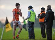 3 January 2016; Aaron Findon, Armagh, leaves the pitch after receiving a red card. Bank of Ireland Dr. McKenna Cup, Group C, Round 1, Armagh v Cavan. St Oliver Plunkett Park, Crossmaglen, Co. Armagh. Picture credit: Stephen McCarthy / SPORTSFILE