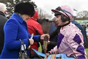 29 December 2015; Trainer Jessica Harrington in conversation with jockey Mark Bolger after winning the IFG/Willis E.B.F. Mares Hurdle with Keppols Queen. Leopardstown Christmas Racing Festival, Leopardstown Racecourse, Dublin. Picture credit: Brendan Moran / SPORTSFILE