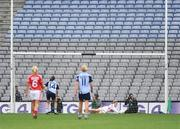 27 September 2009; Cork goalkeeper Elaine Harte saves a penalty from Sinead Aherne, Dublin. TG4 All-Ireland Ladies Football Senior Championship Final, Cork v Dublin, Croke Park, Dublin. Picture credit: Stephen McCarthy / SPORTSFILE