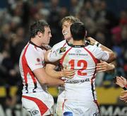 2 October 2009; Andrew Trimble, Ulster, centre, celebrates with Willie Fallon and Paddy Wallace, right, after scoring the second try. Celtic League, Ulster v Llanelli Scarlets, Ravenhill Park, Belfast, Co. Antrim. Picture credit: Oliver McVeigh / SPORTSFILE