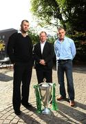 5 October 2009; Leinster head coach Michael Cheika, left, with Munster head coach Tony McGahan, centre, and Ulster head coach Brian McLaughlin at the 2009/10 Heineken Cup launch. Shelbourne Hotel, Stephen's Green, Dublin. Picture credit: Stephen McCarthy / SPORTSFILE