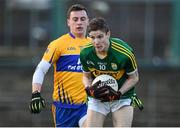 10 January 2016; Philip O'Connor, Kerry, in action against Thomas Downes, Clare. McGrath Cup, Group A, Round 2, Kerry v Clare, Fitzgerald Stadium, Killarney, Co. Kerry. Picture credit: Brendan Moran / SPORTSFILE