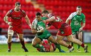 10 January 2016; Bundee Aki, Connacht, is tackled by Morgan Allen and Rhodri Jones, Scarlets. Guinness PRO12, Round 12, Scarlets v Connacht, Parc Y Scarlets, Llanelli, Wales. Picture credit: Chris Fairweather / SPORTSFILE