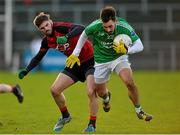 10 January 2016; Ryan Hanna, Fermanagh, in action against Connaire Harrison, Down. Bank of Ireland Dr. McKenna Cup, Group B, Round 2, Down v Fermanagh, Páirc Esler, Newry, Co. Down. Picture credit: Mark Marlow / SPORTSFILE