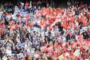 27 September 2009; Cork and Dublin supporters cheer on their side. TG4 All-Ireland Ladies Football Senior Championship Final, Cork v Dublin, Croke Park, Dublin. Picture credit: Brendan Moran / SPORTSFILE