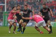 16 January 2016; CJ Stander, Munster, is tackled by Laurent Panis, left and Paul Alo Emile, Stade Francais. European Rugby Champions Cup, Pool 4, Round 5, Munster v Stade Francais. Thomond Park, Limerick.
