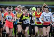 16 January 2016; Kate Avery, Great Britain, left, Fionnuala McCormick, Ireland and Louise Small, England, at the start of the Senior Womens race. Antrim International Cross Country, Greenmount Campus, Stormont, Belfast. Picture credit: Oliver McVeigh / SPORTSFILE