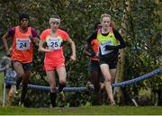 16 January 2016; Fionnuala McCormack, Ireland, right, leading Mimi Belete, Bahrain, left and Kate Avery, Great Britain on her way to finishing third in the Senior Womens race. Antrim International Cross Country, Greenmount Campus, Stormont, Antrim. Picture credit: Oliver McVeigh / SPORTSFILE