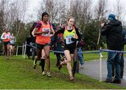 16 January 2016; Fionnuala McCormack, Ireland, leading Mimi Belete, Bahrain, left, on her way to finishing third in the Senior Womens race. Antrim International Cross Country, Greenmount Campus, Stormont, Antrim. Picture credit: Oliver McVeigh / SPORTSFILE