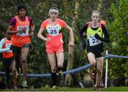 16 January 2016; Fionnuala McCormack, right, Ireland, leading from Kate Avery, Great Britain, and Mimi Belete, Bahrain, on her way to 3rd place in the Senior Womens race. Antrim International Cross Country, Greenmount Campus, Stormont, Antrim. Picture credit: Oliver McVeigh / SPORTSFILE