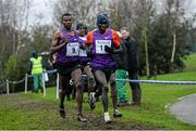 16 January 2016; Aweke Ayalew, Bahrain, left, along side Thomas Ayeko, Uganda, on his way to winning the Senior Mens race. Antrim International Cross Country, Greenmount Campus, Stormont, Antrim. Picture credit: Oliver McVeigh / SPORTSFILE
