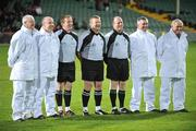 10 October 2009; Referee Michael O'Connor, centre, with his match officials, Michael Meade and Donie Browne (linesmen), and umpires Neilly Browne, Derek Byrne, John Phillips and John Hurley before the game. Limerick County Senior Football Final, Dromcollogher Broadford v Fr.Casey's, Gaelic Grounds, Limerick. Picture credit: Diarmuid Greene / SPORTSFILE