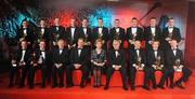 16 October 2009; The 2009 GAA Hurling All-Stars Team, with President of Ireland Mary McAleese, Ard Stuirthoir Pauraic Duffy, Charles Butterworth, CEO Vodafone Ireland, and CLG Criostóir Ó Cuana, back row, from left, Alan McCrabbe, Dublin, Michael Rice, Kilkenny, Henry Shefflin, Kilkenny, Lar Corbett, Tipperary, Conor O'Mahony, Tipperary, Jackie Tyrrell, Kilkenny, Eoin Larkin, Kilkenny, Padraig Maher, Tipperary, Joe Canning, Galway, and GAA All-Star Young Hurler of the year Noel McGrath, Tipperary. Front row, from left, GAA All-Star Hurler of the Year Tommy Walsh, Kilkenny, Michael Walsh, Waterford, PJ Ryan, Kilkenny, Ollie Canning, Galway, and John Mullane, Waterford, during the 2009 GAA All-Stars Awards, sponsored by Vodafone. Citywest Hotel, Conference, Leisure & Golf Resort, Dublin. Picture credit: Brendan Moran / SPORTSFILE