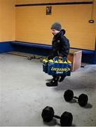 17 January 2016; Eight year old Joshua McLoughlin, from Dromard, Co. Longford, lends a helping hand before the game. Bord na Mona O'Byrne Cup Semi-Final, Longford v Dublin. Glennon Brothers Pearse Park, Longford. Picture credit: Ray McManus / SPORTSFILE