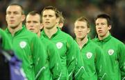 10 October 2009; Sean St. Ledger, Republic of Ireland, right, stands with his team-mates for the National Anthem. 2010 FIFA World Cup Qualifier, Republic of Ireland v Italy, Croke Park, Dublin. Picture credit: Brendan Moran / SPORTSFILE